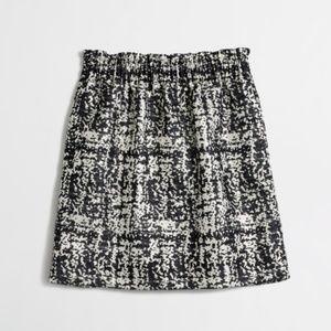 J Crew Jacquard Pleated Skirt Gold Paperbag